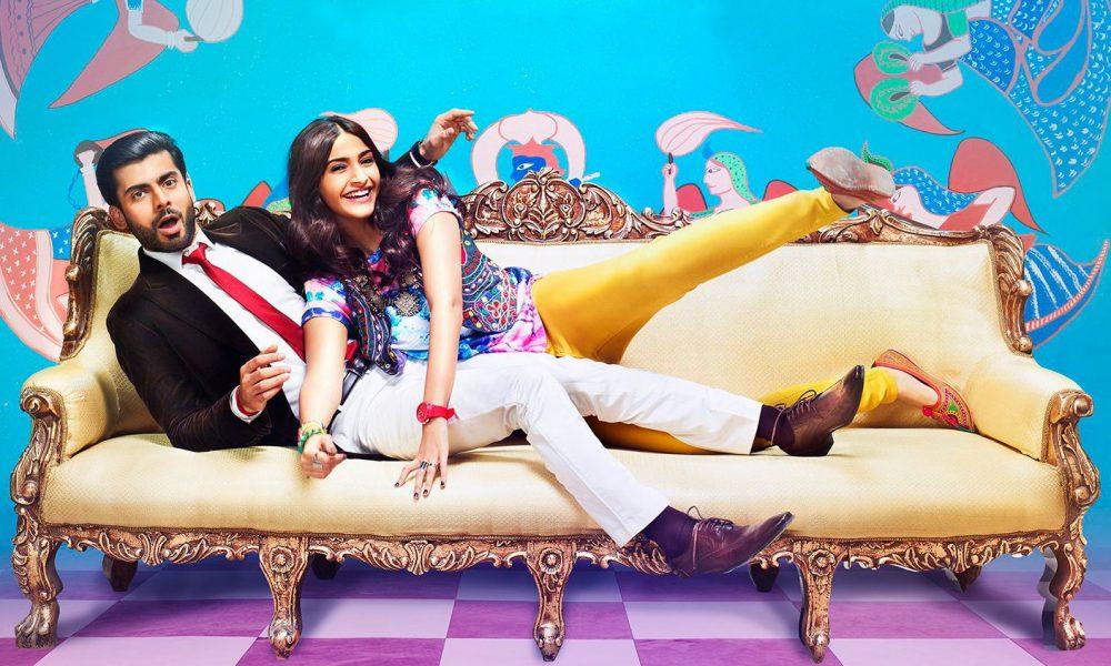 Fawad Khan, Sonam Kapoor sitting on a bed